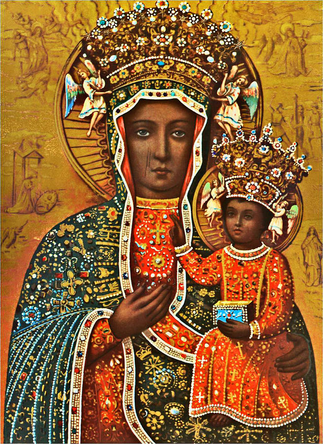 Our Painting - Our Lady of Czestochowa Black Madonna Poland Polish Virgin Mary Religious Catholic Picture  by Magdalena Walulik