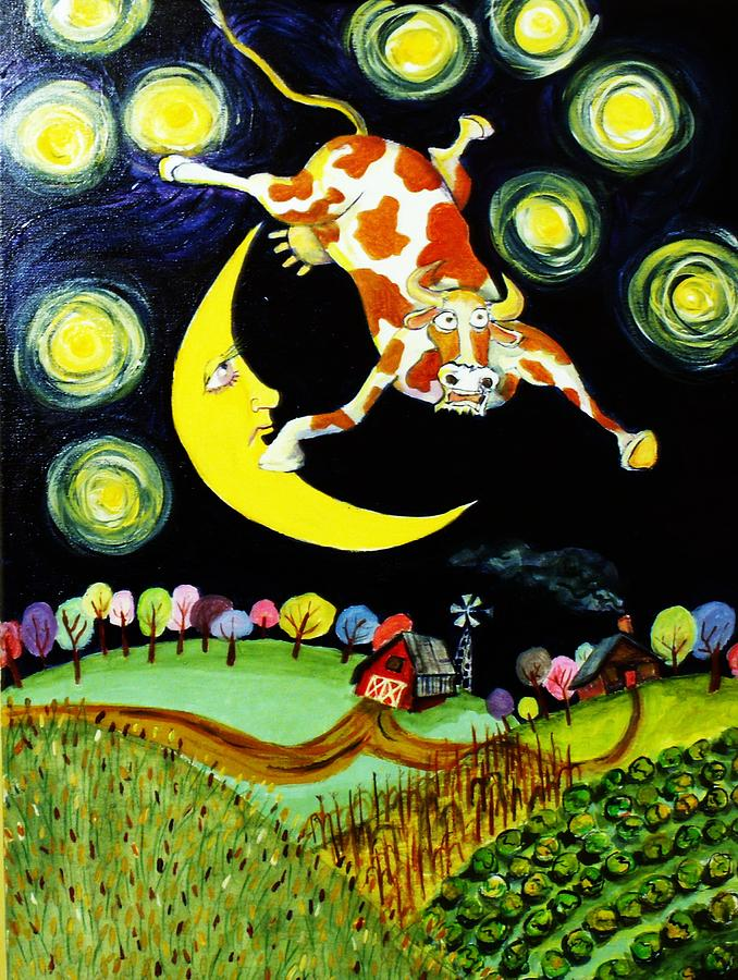Moon Painting - Over The Moon by Tex Norman