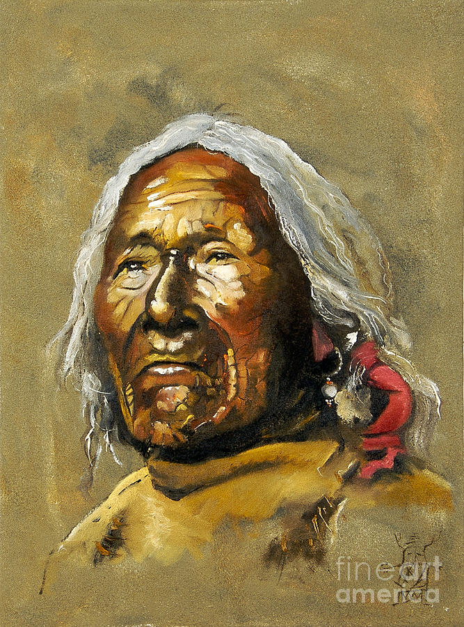 Native American Portraits Painting - Painted Sands Of Time by J W Baker