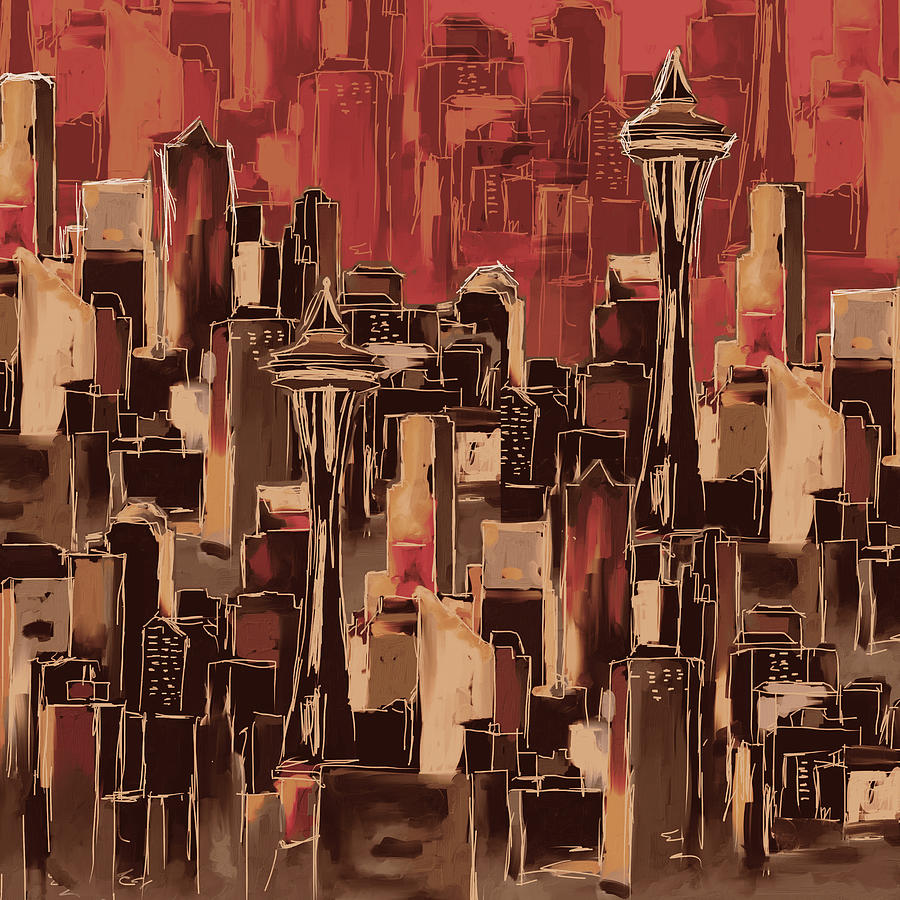 Chicago Painting - Painting 773 4 Seattle Skyline by Mawra Tahreem