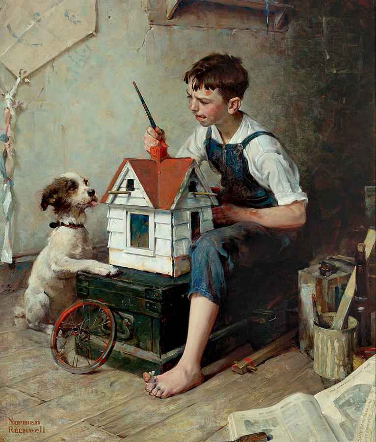 Painting The Little House Painting By Norman Rockwell