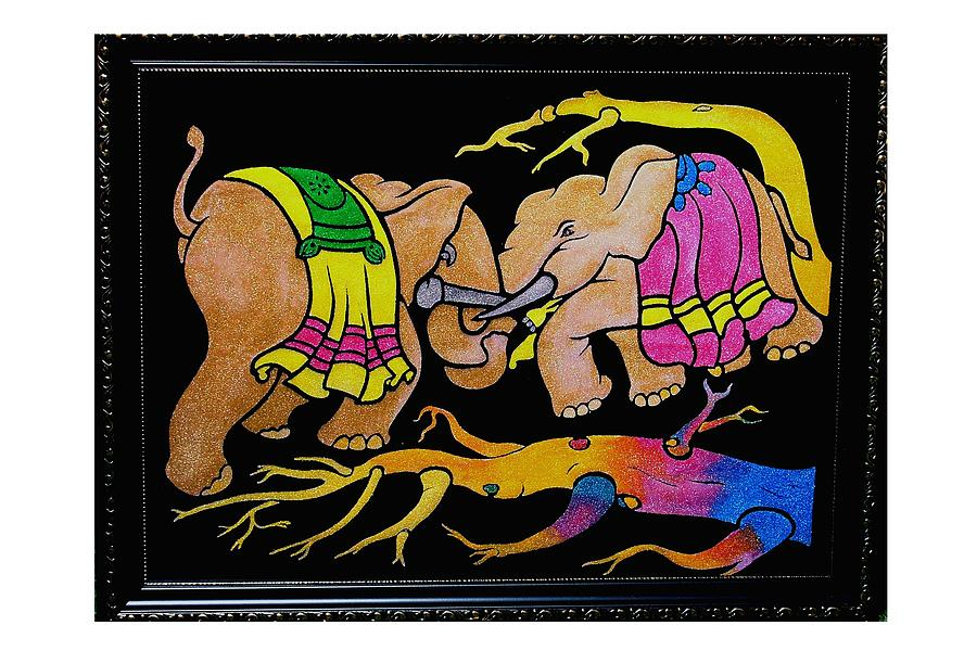 Elephant Fight Painting - Paintings by Darshita Mehta