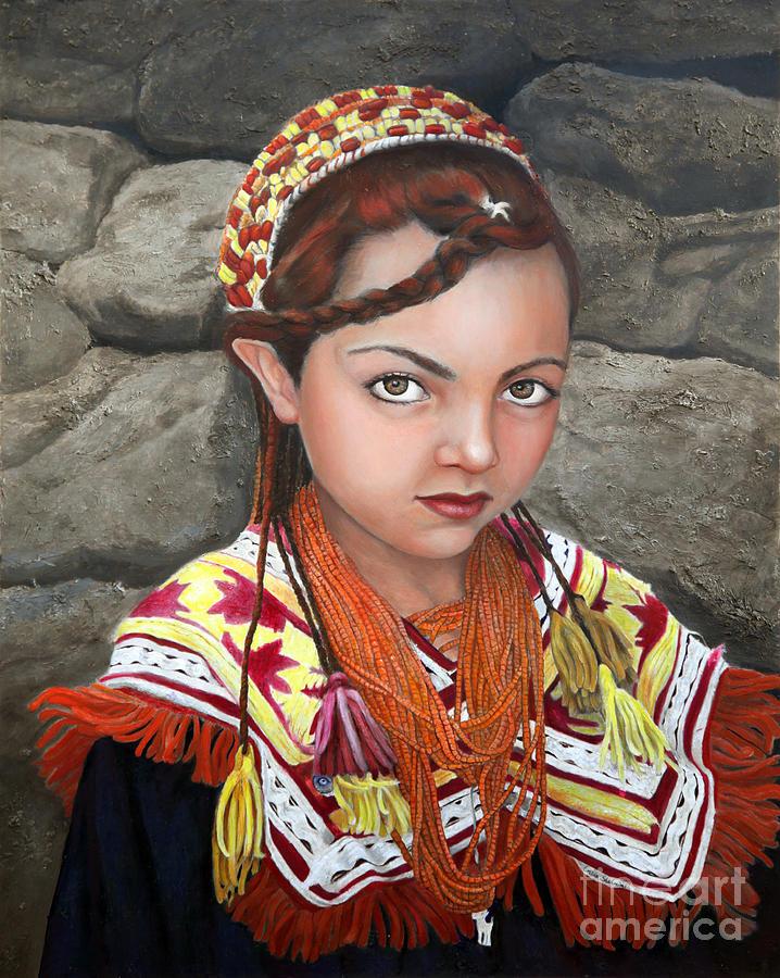 Figurative Art Painting - Pakistani Girl by Enzie Shahmiri