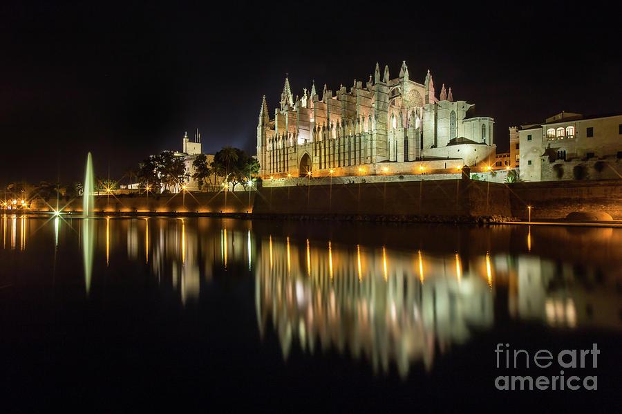 Architecture Photograph - Palma De Mallorca Cathedral At Night by Nikolay Stoimenov