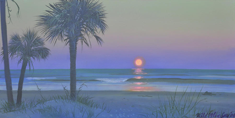 Seascape Painting - Palmetto Moon by Blue Sky