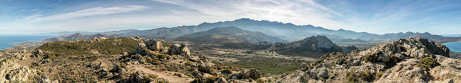 Blue Photograph - Panoramic View Of Monte Grosso And The Mountains Of Corsica by Jon Ingall