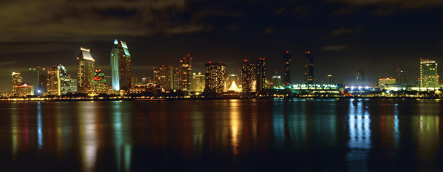 Bay Photograph - Panoramic View Of San Diego At Night by George Oze