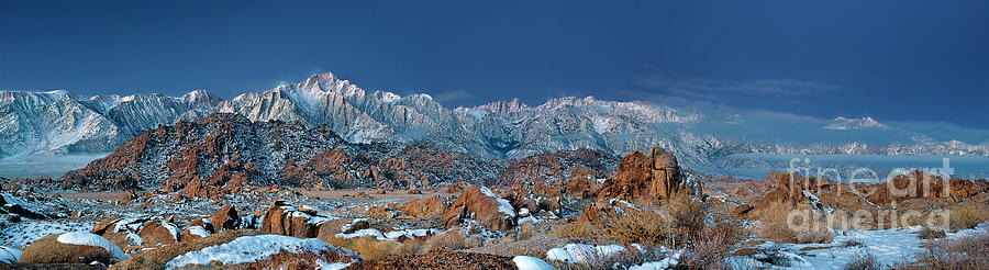 Dave Welling Photograph - Panoramic Winter Morning Alabama Hills Eastern Sierras California by Dave Welling