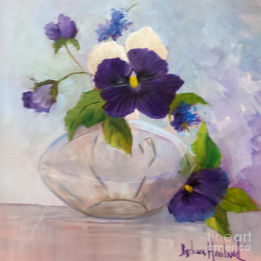 Pansies Painting - Pansies In Glass by Barbara Haviland