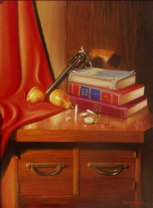 Still Life Painting - Papas Pistol by Gene Gregory
