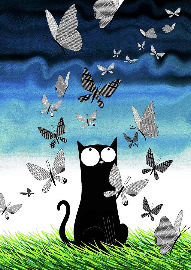 Cat Mixed Media - Paper Butterflies  by Andrew Hitchen