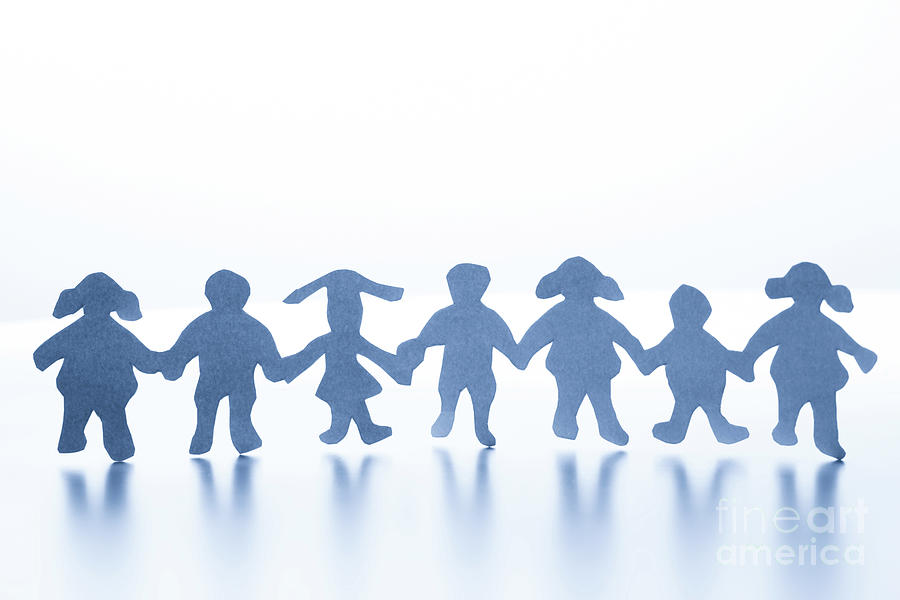 Paper Children Standing Together Hand In Hand Photograph