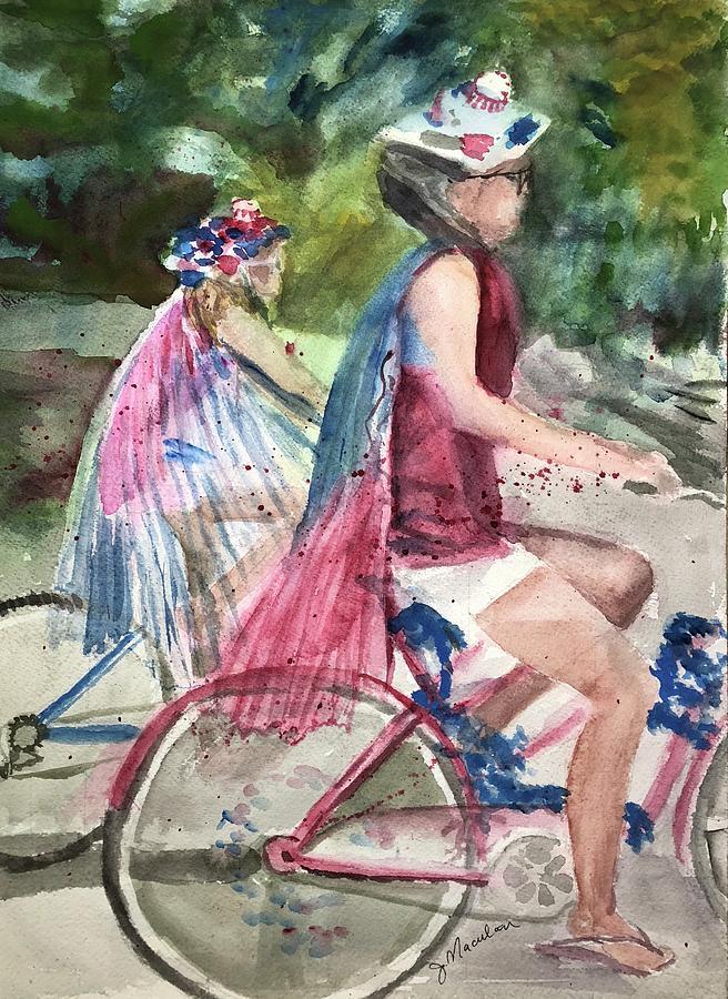 Parade Painting - Parade Cyclers by Judith Maculan