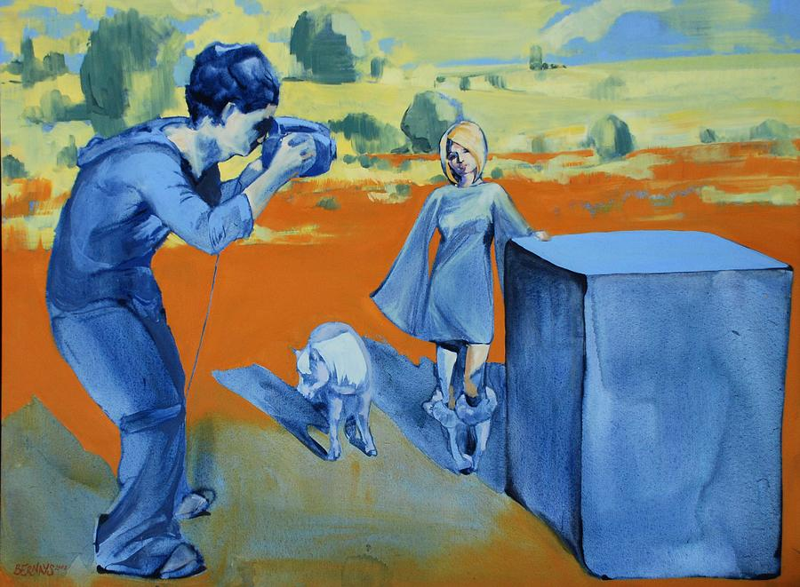 Landscape Female People Yellow Orange Camera Pony Box Blue  Painting - Paris And The Pony by Amy Bernays