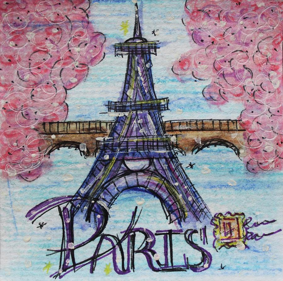 Watercolor Painting - Paris by Art By Naturallic