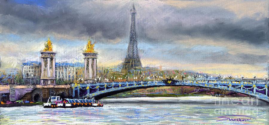 Cityscape Pastel - Paris Pont Alexandre IIi by Yuriy Shevchuk