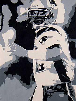 Football Painting - Passing Under Fire by Michael James Toomy