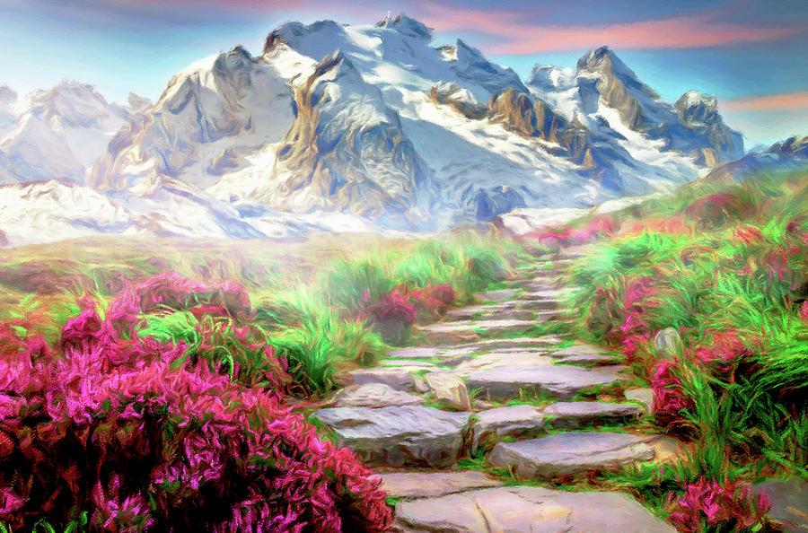 Winter Landscape Mixed Media - Path To Heaven by Georgiana Romanovna
