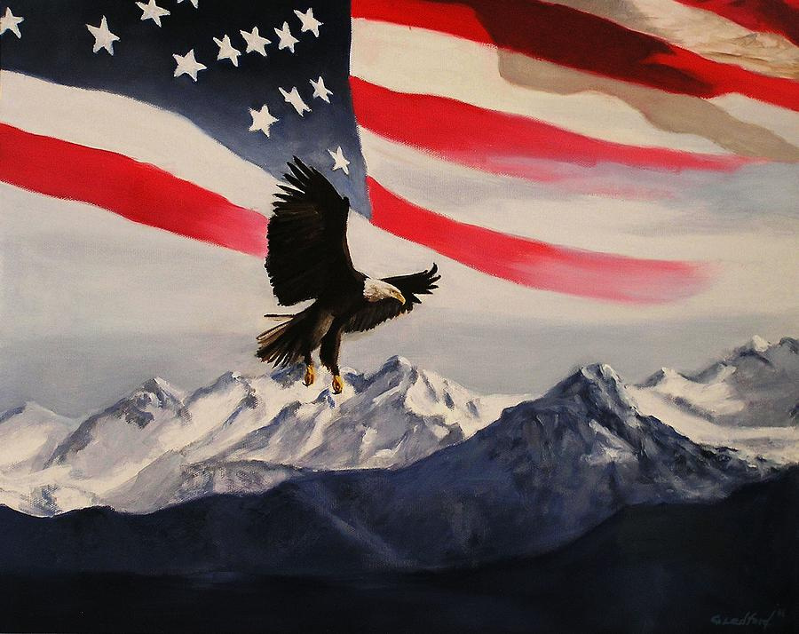 Patriotic Eagle And Flag Painting by Glenn Ledford