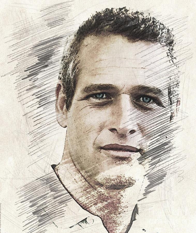 Paul Digital Art - Paul Newman, Actor by John Springfield