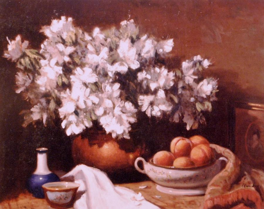 Peaches And Flowers Painting by David Olander