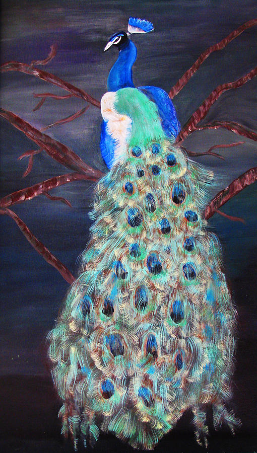 Peacock Painting - Peacock  by Mikki Alhart