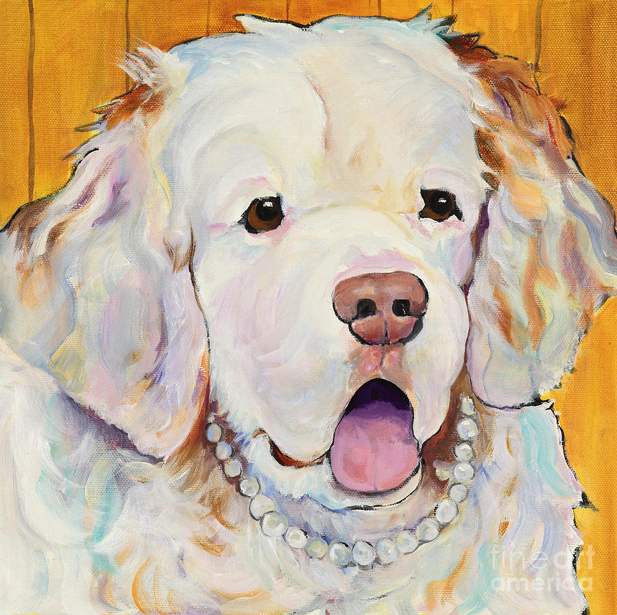 Dog With Pearls Painting - Pearl by Pat Saunders-White