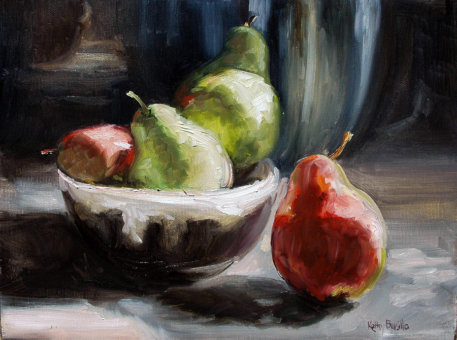 Pears Painting - Pears In Grandmas Bowl by Kathy Busillo