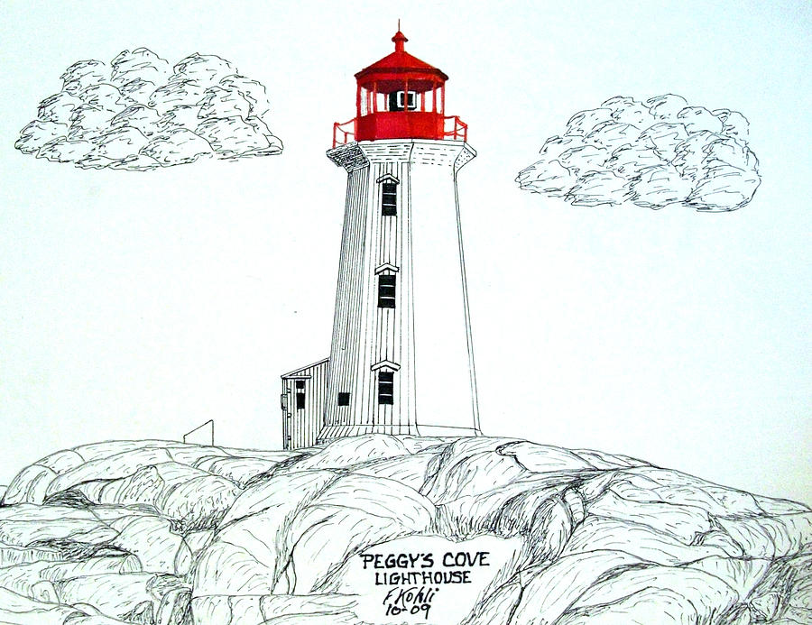 Lighthouse Drawings Drawing - Peggys Cove Lighthouse by Frederic Kohli