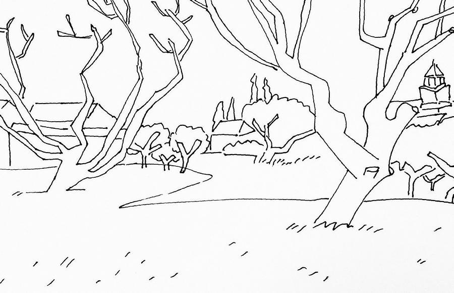 Landscape Drawing - Pen Landscape by Hae Kim