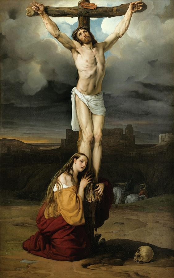 Penitent Magdalene at the Foot of the Cross Painting by Francesco Hayez