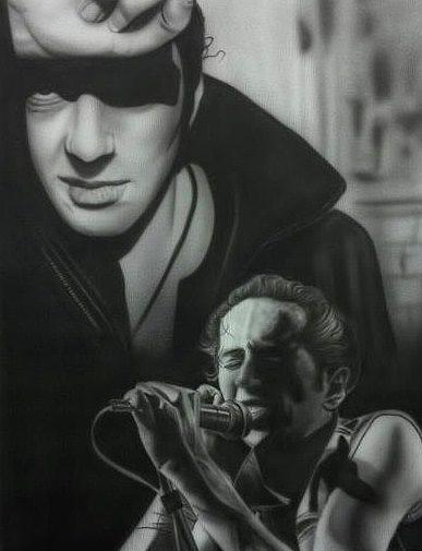 Airbrush Painting - People- Joe Strummer by Shawn Palek