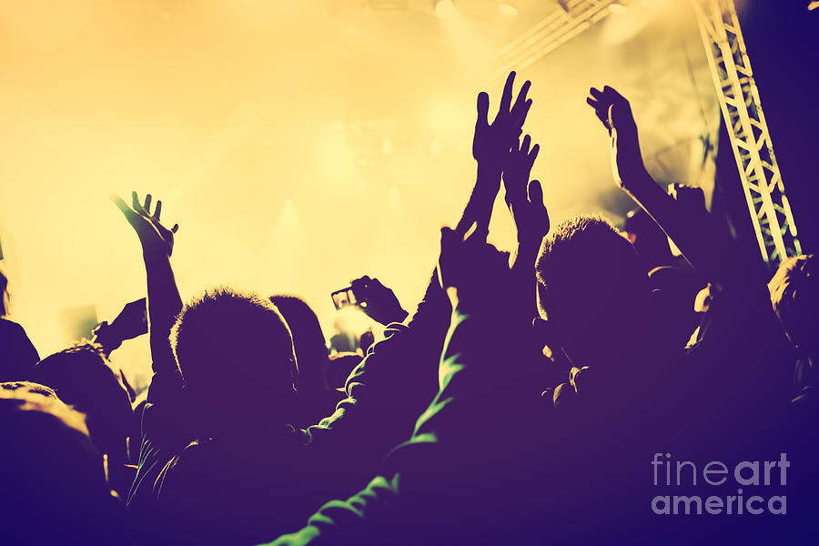 Concert Photograph - People With Hands Up In Night Club by Michal Bednarek