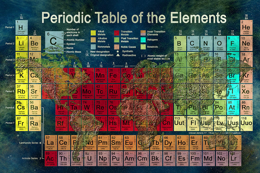 Atoms Digital Art - Periodic Table Of The Elements by Carol and Mike Werner