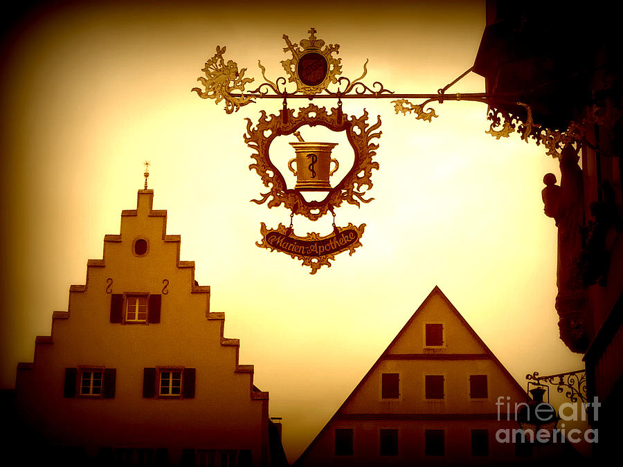 Rothenburg Photograph - Pharmacy Sign In Rothenburg by Carol Groenen
