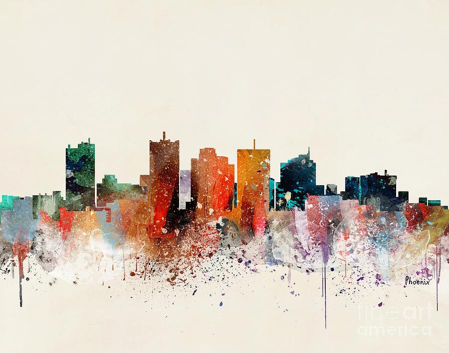 Phoenix Cityscape Painting - Phoenix Skyline by Bri Buckley