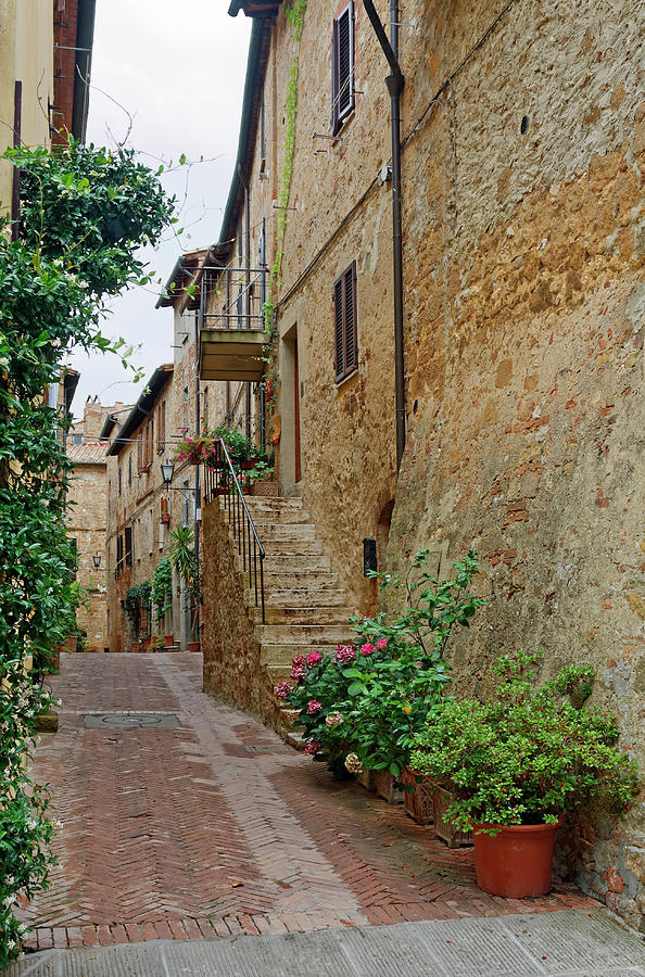 Brick Photograph - Pienza Street by Sally Weigand
