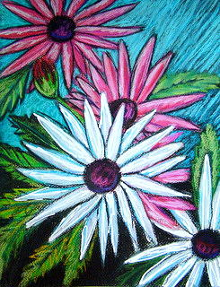 Pink And White Daisies Painting by Yasemin Raymondo
