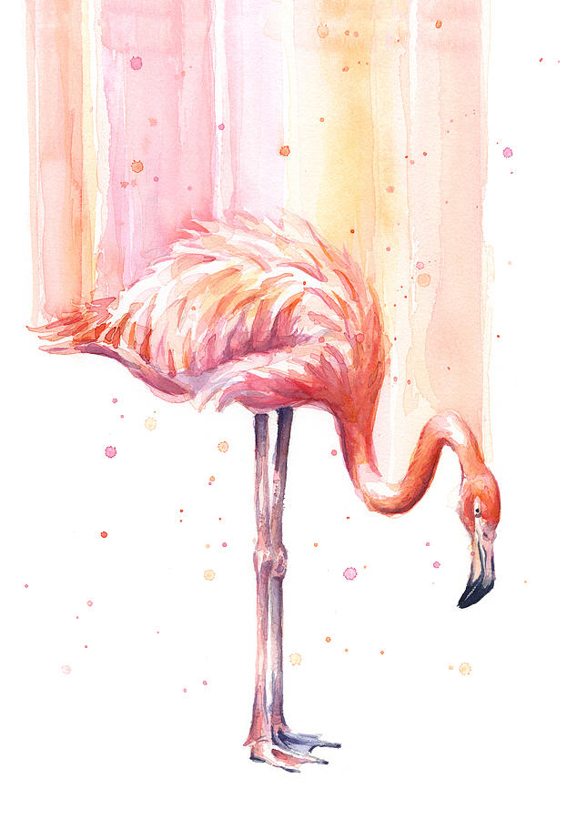 Pink Painting - Pink Flamingo - Facing Right by Olga Shvartsur