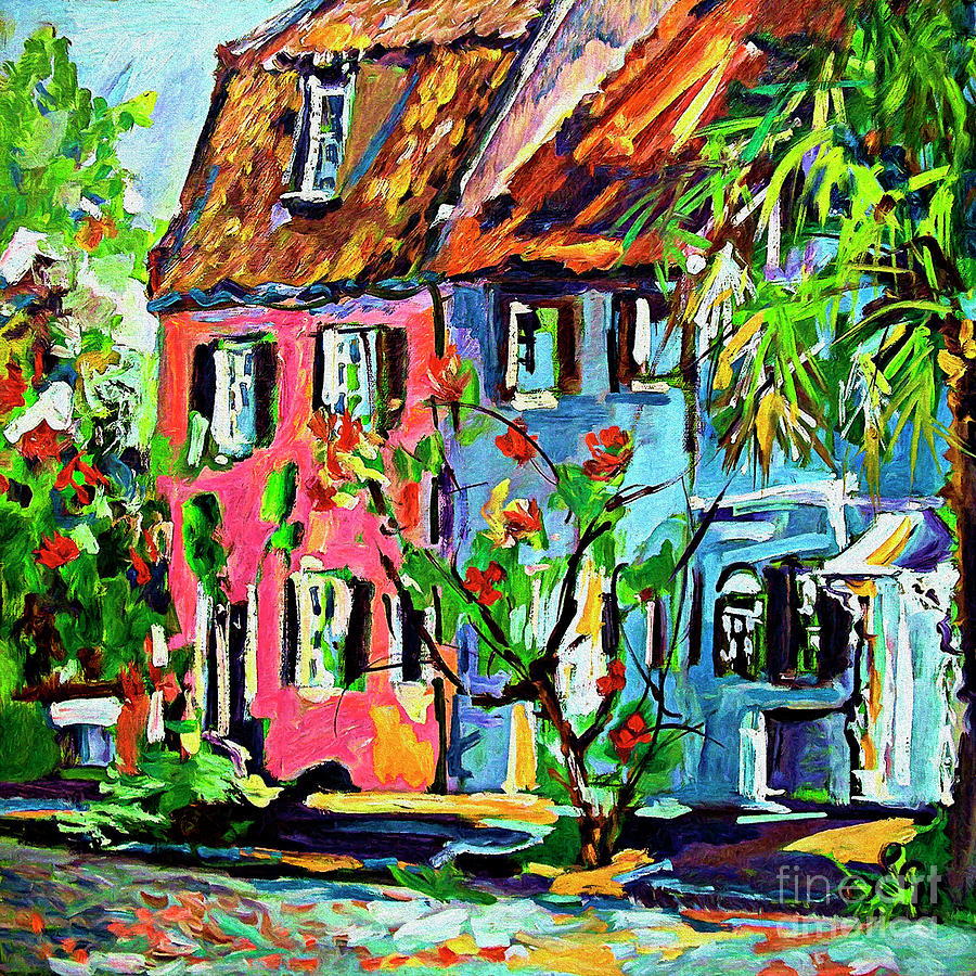 Pink House On Chalmers Street Charleston South Carolina Painting by Ginette Callaway