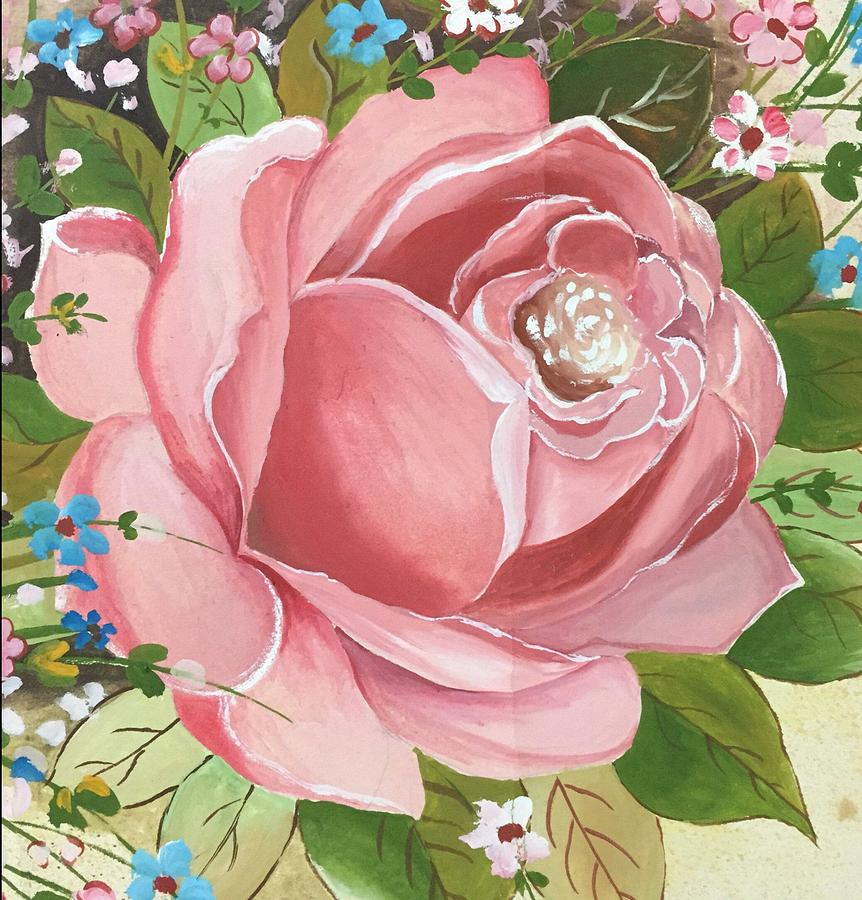 Flower Painting - Pink Rose  by Pushpa Sharma