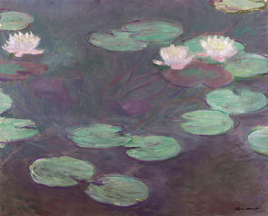 Pink Water Lilies Painting - Pink Water Lilies by Claude Monet