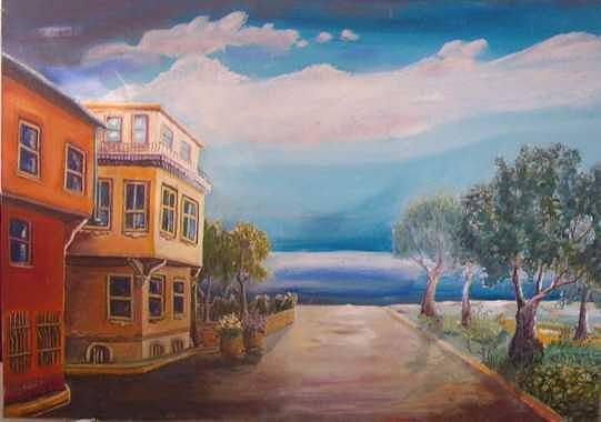 Pink Yellow House Painting by Fahrettin  Oktay
