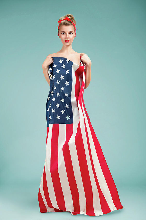 Pinup Girl With American Flag Photograph by Lana Poly