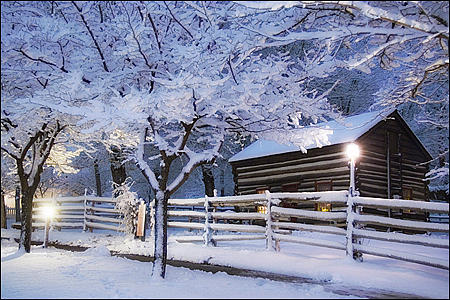 Pioneer Cabin At Christmas Time Photograph