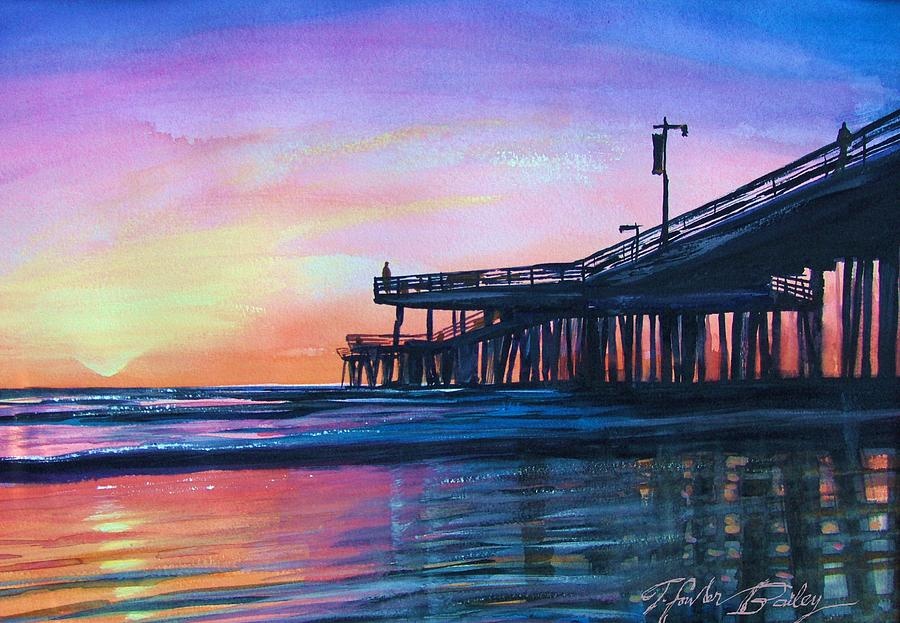 Pismo Beach Painting - Pismo Pier Sunset by Therese Fowler-Bailey