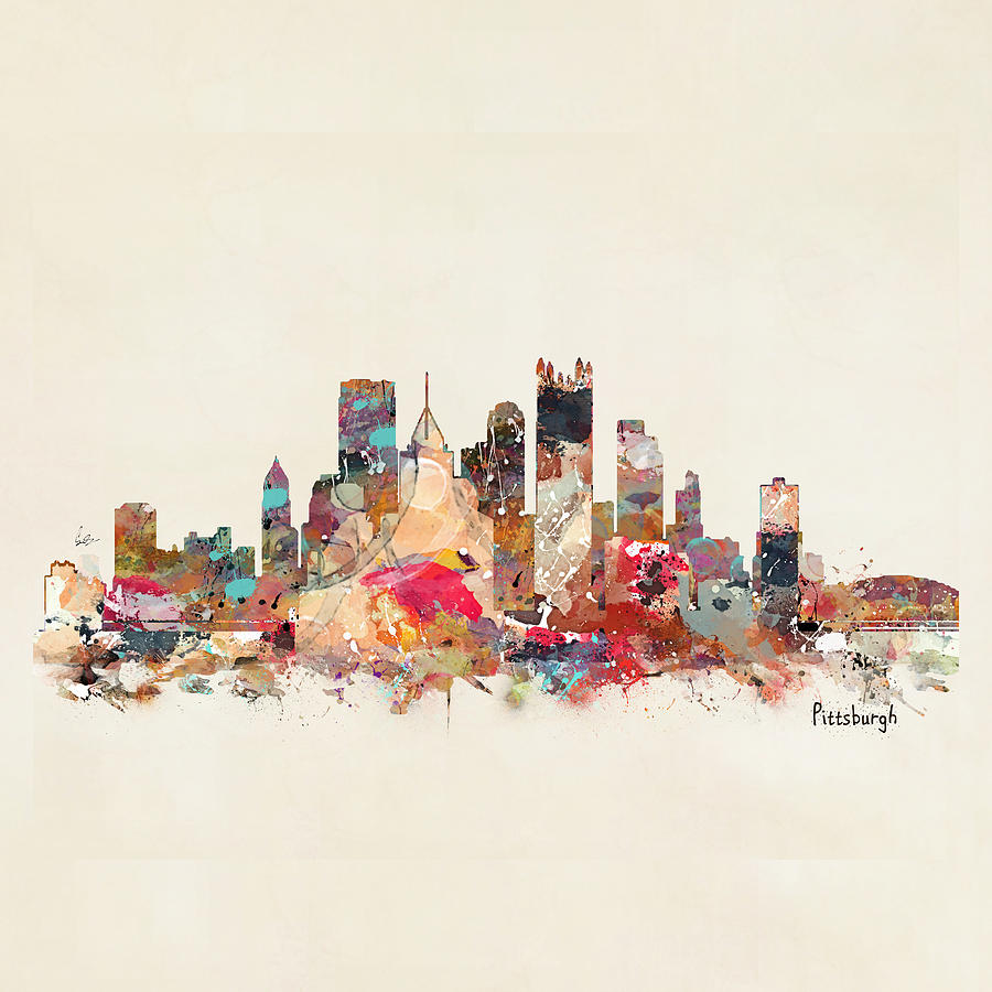 Pittsburgh Pennsylvania Painting - Pittsburgh City Skyline by Bri Buckley