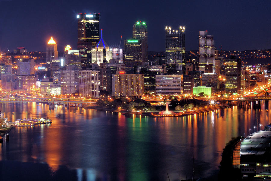 Pittsburgh Skyline At Night Photograph
