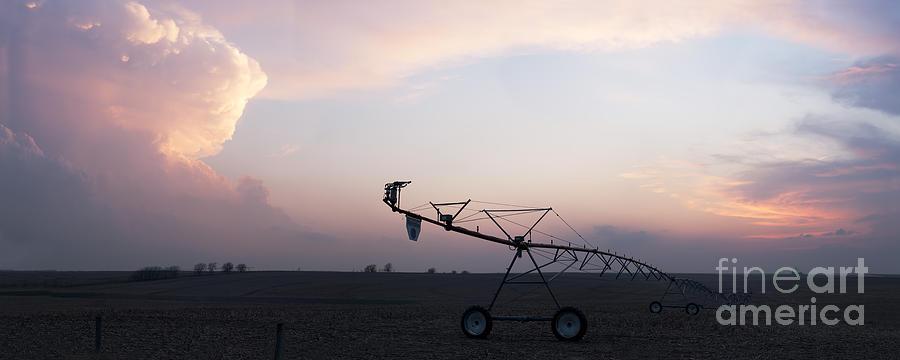 Prairie Sunset Photograph - Pivot Irrigation And Sunset by Art Whitton