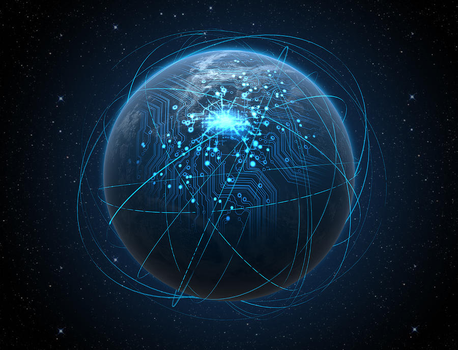 Planet Digital Art - Planet With Illuminated Network And Light Trails by Allan Swart